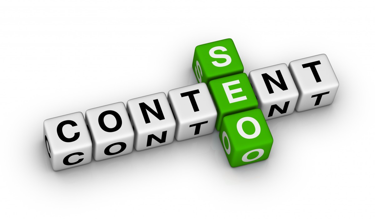 Content and SEO spelled with letter cubes